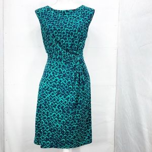 Ann Taylor Navy and Green Wrap Dress Size 6   A240